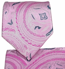 Pink Paisley Necktie and Pocket Square