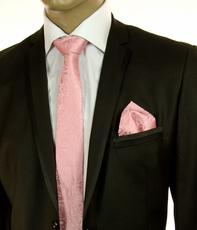 Pink Paisley SLIM Silk Tie by Paul Malone (Slim575H)