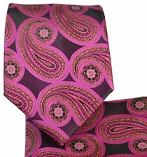 Pink Paisley Tie and Pocket Square Set