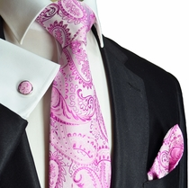 Pink Paul Malone Paisley Tie Set (800CH)