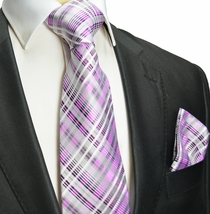 Pink Plaid Silk Tie and Pocket Square , Paul Malone Red Line