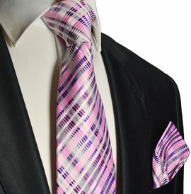 Pink Silk Tie and Pocket Square . Paul Malone