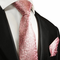 Pink Silk Tie and Pocket Square Set by Paul Malone Red Line