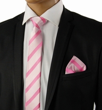 Pink Slim Tie Set by Paul Malone . 100% Silk (Slim092H)