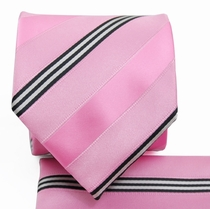 Pink Striped Necktie and Pocket Square Set (Q506-D)