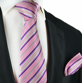 Pink Striped Silk Tie and Pocket Square by Paul Malone