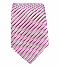Pink Striped Slim Tie by Paul Malone . 100% Silk