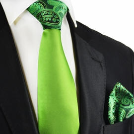 Piquant Green Conrast Tie and Pocket Square by Paul Malone