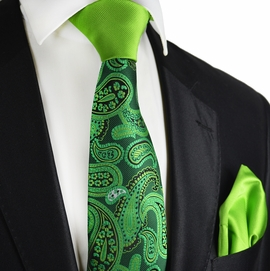 Piquant Green Paisley Contrast Knot Tie Set by Paul Malone