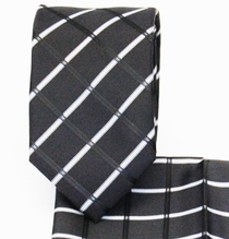 Plaid Black Slim Necktie and Pocket Square (Q3011-G)
