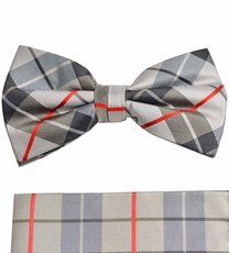 Plaid Bow Tie and Pocket Square Set by Paul Malone (BT983H)
