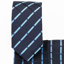 Plaid Navy Slim Necktie and Pocket Square (Q3011-H)