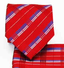 Plaid Necktie and Pocket Square Set, Red, Blue and White (Q479-H)