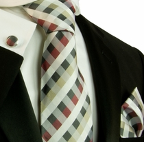 Plaid Necktie Set by Paul Malone . Red, White, Black and Tan (557CH)