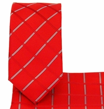 Plaid Red Slim Necktie and Pocket Square (Q3011-D)