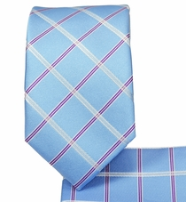 Plaid Sky Blue Slim Tie and Pocket Square (Q3011-C)