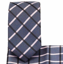 Plaid Slim Necktie and Pocket Square (Q3011-E)