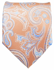 Pumpkin and Blue Paisley Men's Tie