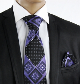 Purple a. Black Crystal Tie Set (C72-11)