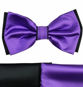 Purple and Black Bow Tie with 2 Pocket Squares