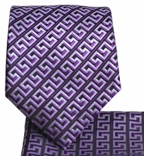 Purple and Black Men's Tie and Pocket Square