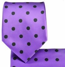 Purple and Black Necktie and Pocket Square