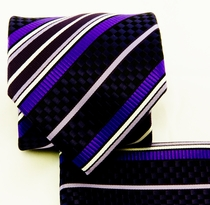 Purple and Black Necktie and Pocket Square Set (Q581-C)