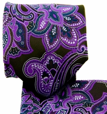 Purple and Black Paisley Necktie and Pocket Square (Q569-E)