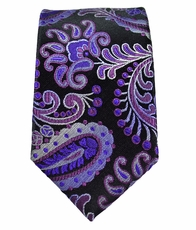 Purple and Black Paisley Slim Silk Necktie by Paul Malone
