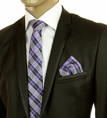 Purple and Black Plaid SLIM Tie Set by Paul Malone (Slim572H)