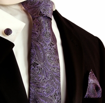 Purple and Black Silk Necktie Set by Paul Malone (793CH)