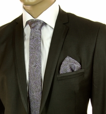 Purple and Black SLIM Silk Tie Set by Paul Malone (Slim793H)