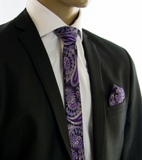 Purple and Black SLIM Tie and Pocket Square by Paul Malone (Slim552H)
