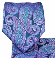 Purple and Blue Coral Paisley Tie and Pocket Square
