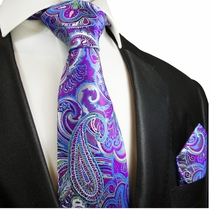 Purple and Blue Paisley Silk Tie Set by Paul Malone Red Line