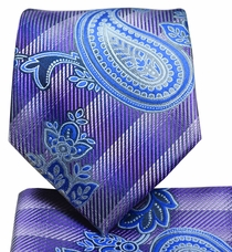 Purple and Blue Paisley Tie and Pocket Square Set