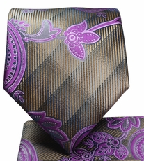 Purple and Bronze Paisley Tie and Pocket Square Set