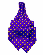 Purple and Orange Ascot Tie a. Pocket Square