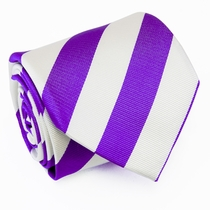 Purple and White Paul Malone Silk Tie, Blazerstripes (829)