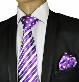 Purple and White Steven Land Silk Tie Set