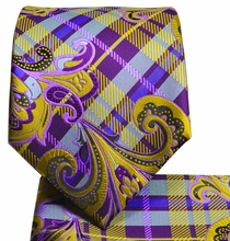 Purple and Yellow Paisley Men's Tie and Pocket Square