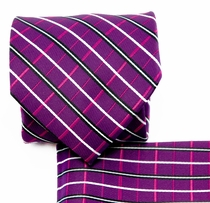 Purple, Black and White Necktie and Pocket Square (Q578-F)