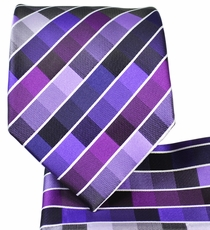 Purple Checkered Necktie and Pocket Square
