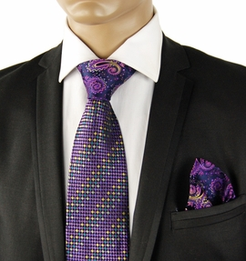 Purple Contrast Knot Silk Tie Set by Steven Land