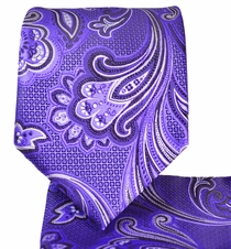 Purple Paisley Necktie and Pocket Square Set