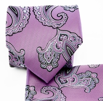 Purple Paisley Necktie Set (Q577-D)