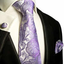 Purple Paisley Silk Necktie Set by Paul Malone (581CH)