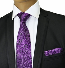 Purple Paisley Silk Tie Set . Paul Malone