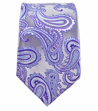 Purple Paisley Slim Silk Tie by Paul Malone