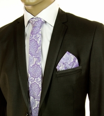 Purple Paisley SLIM Silk Tie Set by Paul Malone (Slim581H)